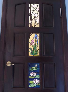 Витражи с пейзажами в двери